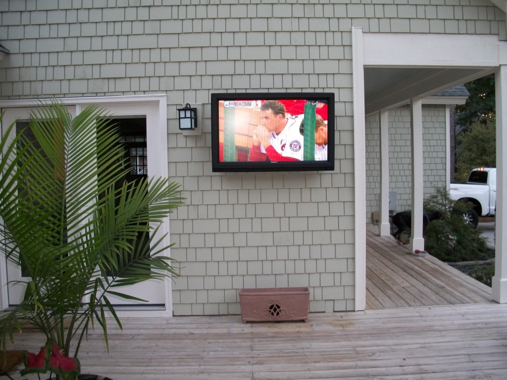 Back Patio Custom Fitted With Sunbrite Outdoor Weatherproof TV U0026 Rockustics  Flower Planter Speaker System